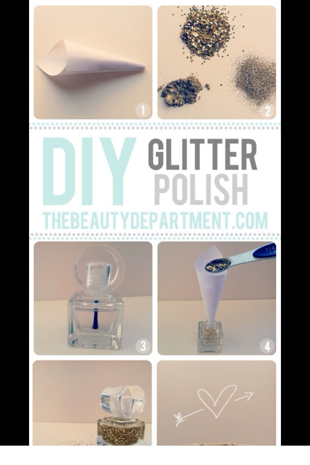 Use glitter in clear nail polish for glitter polish, (the more the merrier)