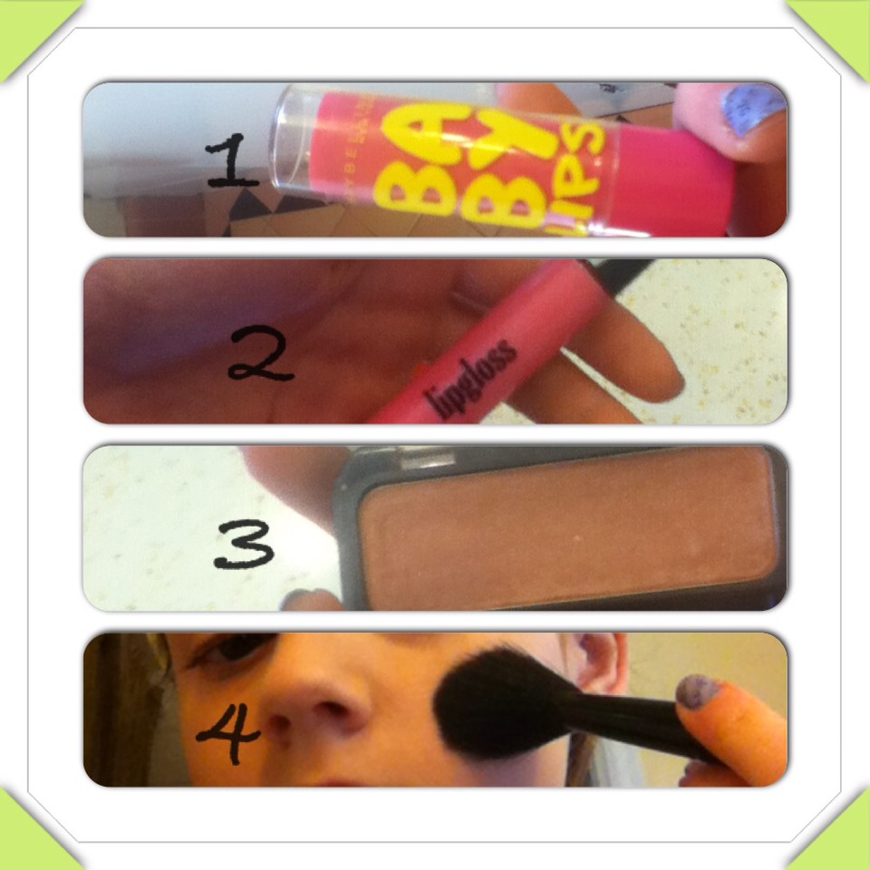 Apply a lip balm as base. Add lip gloss or light lipstick. Put on some blush, only on cheekbones.