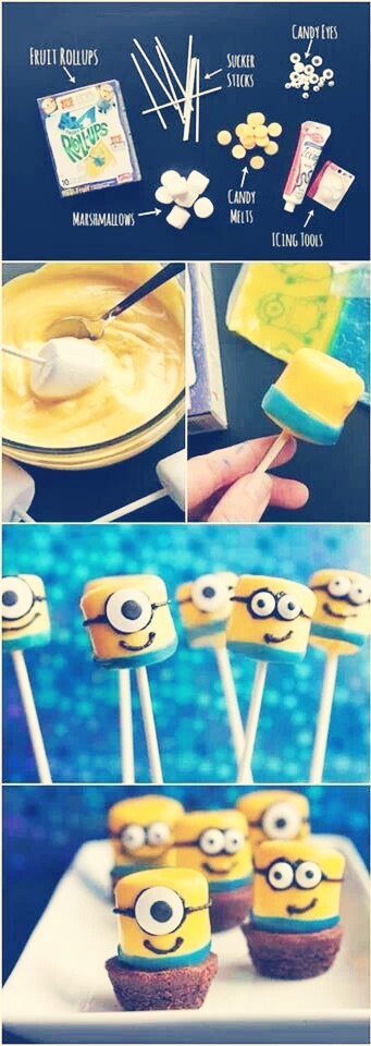 1. Dip a marshmallow on a stick in yellow chocolate/icing. 2. Take a blue fruit rollup and put it on the bottom. (See picture above) 3. Make the face and enjoy!