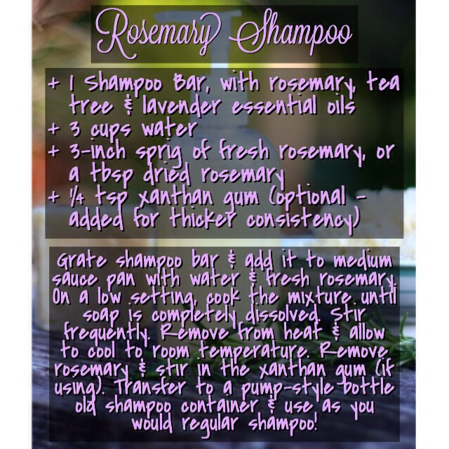 NOTE | Your hair may go through a transition/detox period lasting about a week, in which time it may look a bit on the greasy side. Once you've given your hair a chance to adapt to this natural, DIY rosemary shampoo, you're hair will look glossy, clean & healthy