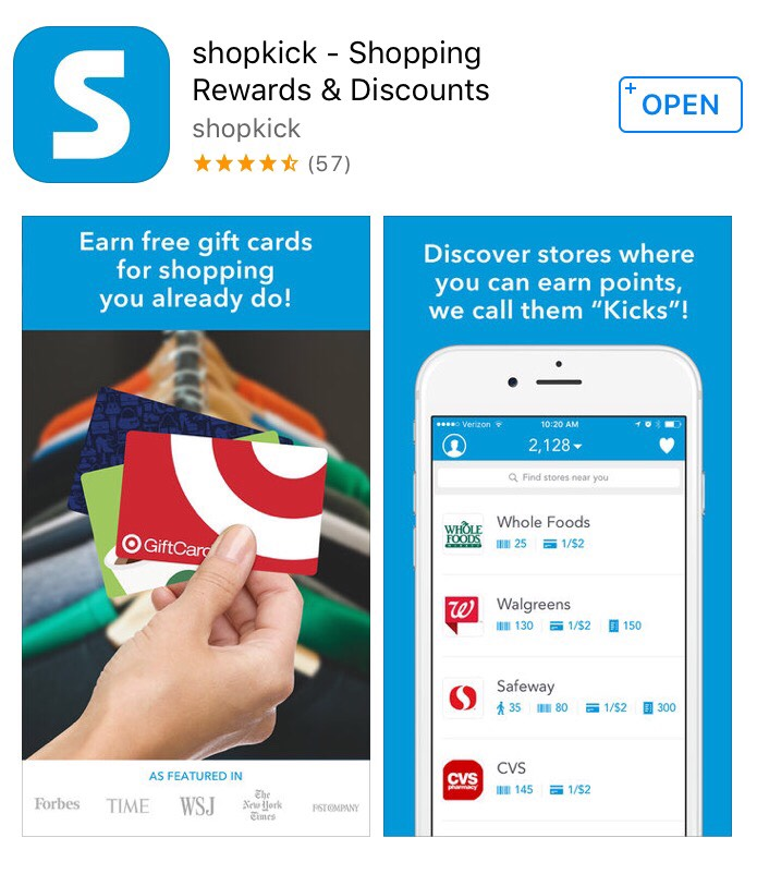 Download shopkick to earn free gift cards