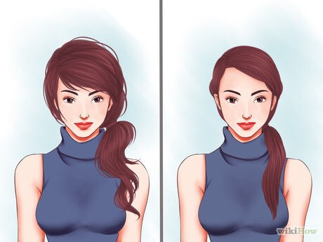 Choose between a neat side ponytail or a messy side ponytail. For a neat one, you might want to take time to straighten your hair first. For a messy one, which is just as cute, just let your hair keep its natural texture.