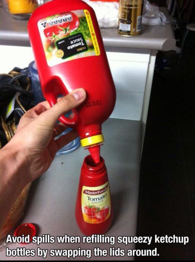 Never spill or over fill sauce bottles AGAIN!!