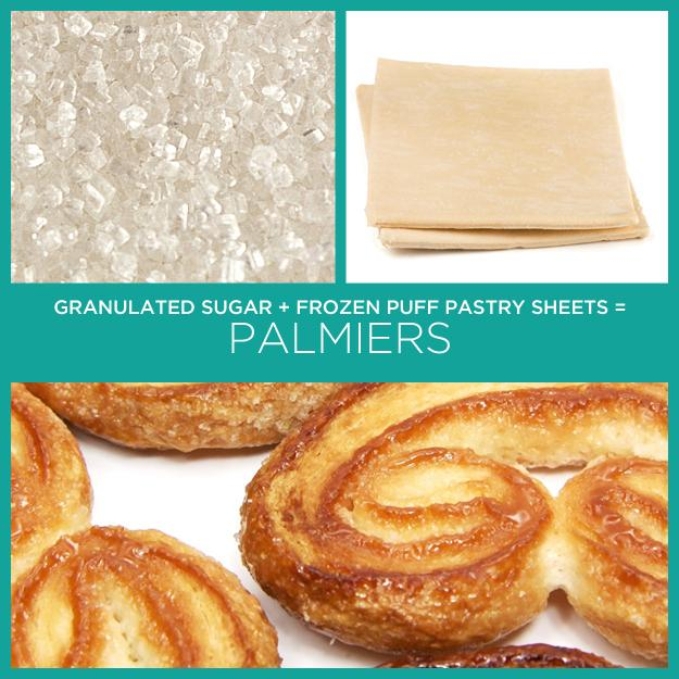 13. Granulated Sugar + Frozen Puff Pastry Sheets = Palmiers