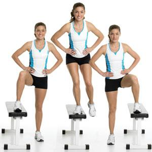 Lateral Step-Ups  Tones: Butt and thighs, plus raises heart rate to burn extra calories