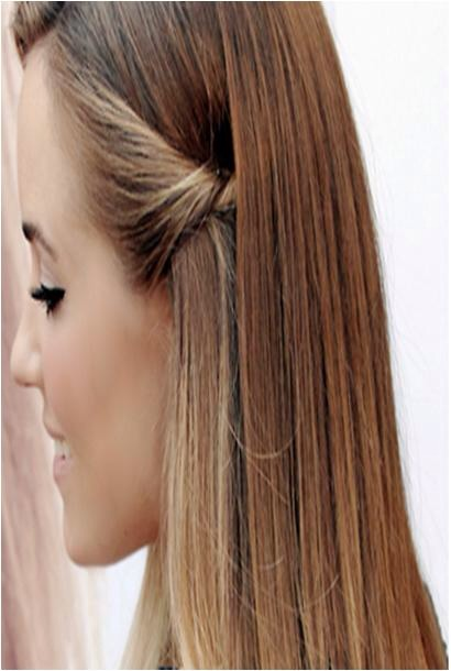 To do this hairstyle, take a 2 inch section if hair and twist it one or two times and pin it behind your ear and cover up the bobby pins with some of your hair