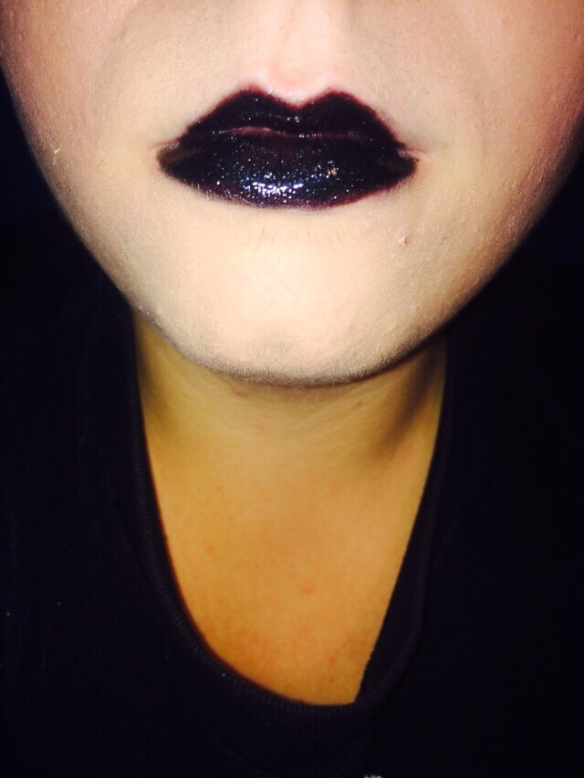 This is the finished product on how I do my black lips