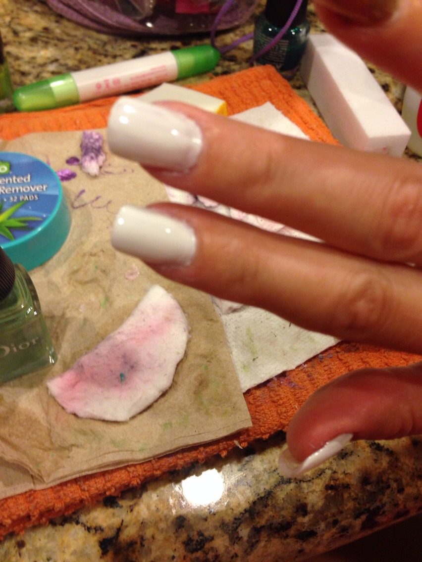 Start with a coat of white polish. This makes the colors more vibrant