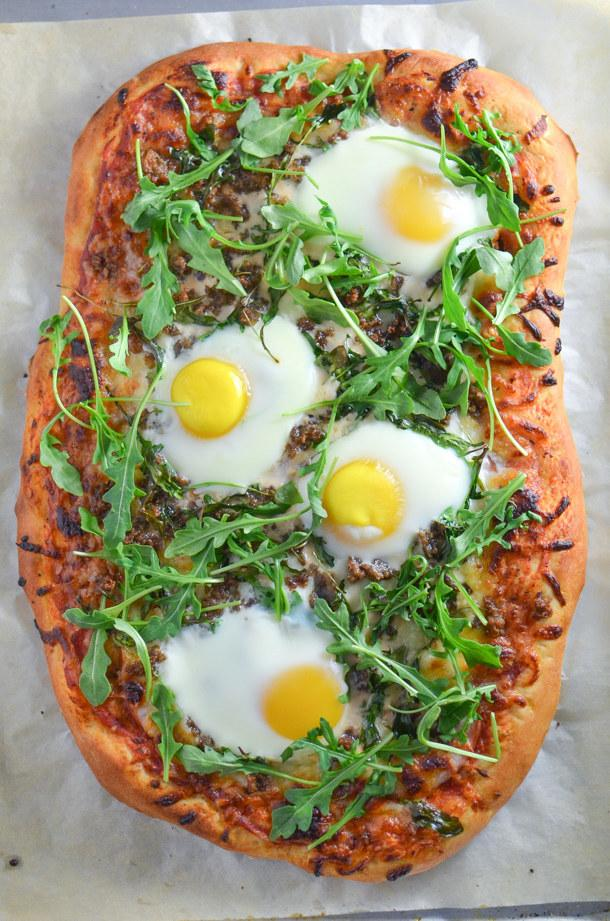 6. Breakfast Pizza with Canadian Bacon, Sausage and Arugula