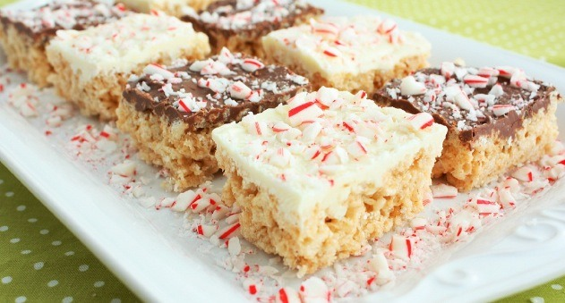 e. Melt white chocolate or milk chocolate chips in a microwave safe bowl on 50% power in 30 second intervals until melted and smooth, stirring after each interval. Evenly spread melted chocolate over Peppermint Rice Krispie Treats. Sprinkle with crushed candy canes.