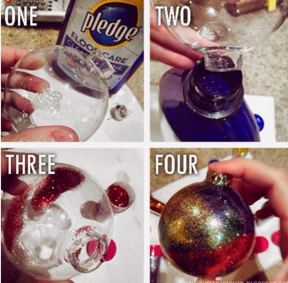 One: remove stem from ornament and apply the clear floor wax to the inside of the ornament. Two: swish the wax around and pour it back into the bottle. Three: pour a little glitter inside. Four: swirl color and shake, them add the cap back on.