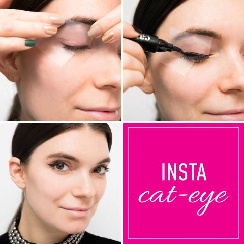 17.Clear tape as a no-fail cat-eye guide.  Place the edge of the tape in line with your bottom lash line and angle the top toward the end of your eyebrow.