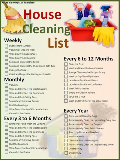 list of house cleaning tasks
