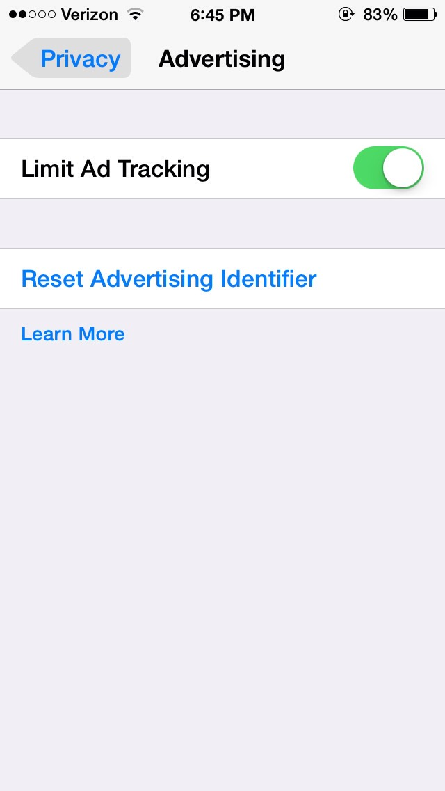 """Turn on """"limit ad tracking"""" and there u go!!!😃"""