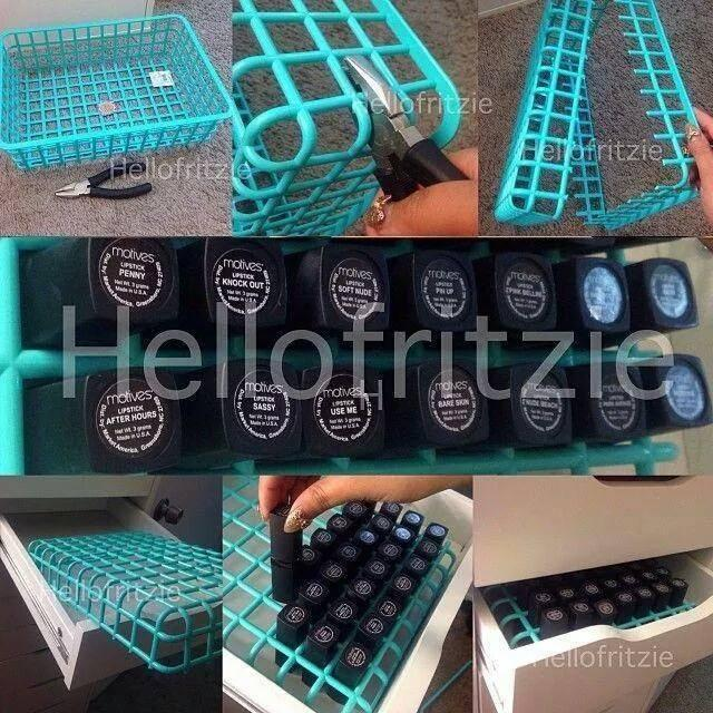 this is amazing for all those lipsticks you gave in your purse and in drawers..get organized get a basket case.. :)