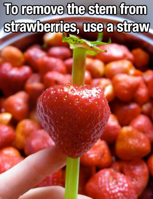 To remove the stems from strawberries, use a straw
