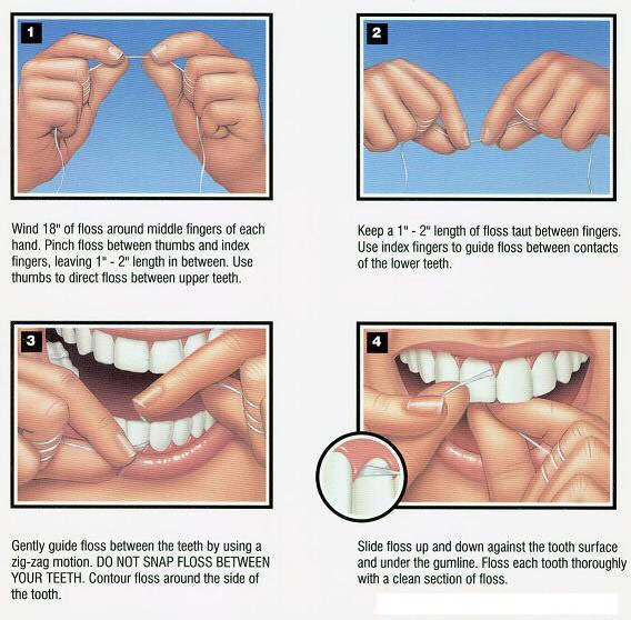 """As we all know, flossing is important, but how you floss is even more important.   Flossing each tooth in a """"C"""" or side ways """"U"""" shape ensures that you get every crevice avoiding any type of left over food causing infections."""