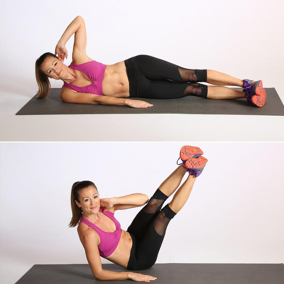 Circuit Two: Oblique V-CrunchDo eight reps, then switch sides.
