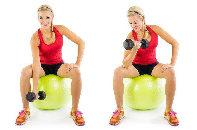 Concentration Curl on Stability Ball: If multitasking comes naturally to you, you'll love this combination of biceps and core stability!