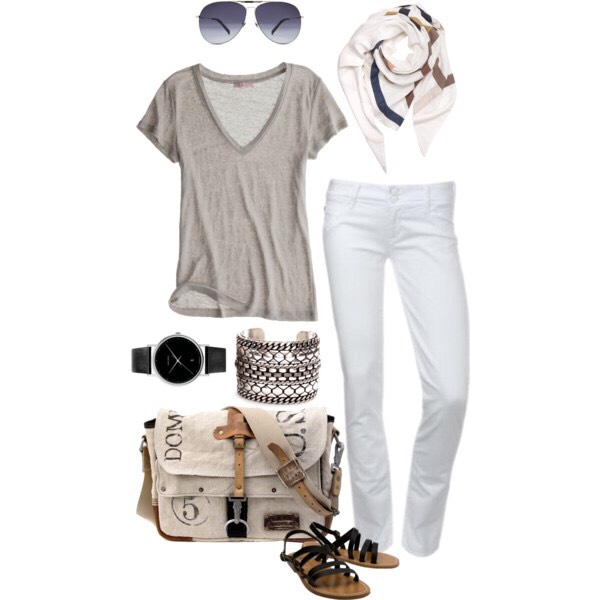 Some white jeans a t-shirt sandals any purse a scarf that matches and bracelets