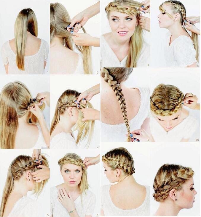 1. A braided crown. This hairstyle is stunning and fairly easy. First, split your hair into three sections. Next, braid it all into one tight braid. Next you wrap the braid around your head. Depending on your hair and it's length, you will need to tuck it under and/or bobby pin it.