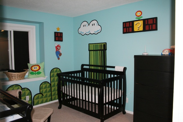 If you are nerdy, a Mario themed room might be perfect for you and baby.