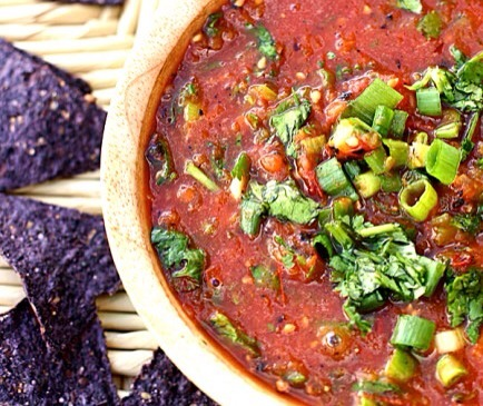 Restaurant Style Salsa  Grab ten baked pita chips and a bowl of chunky salsa for a satisfying snack!