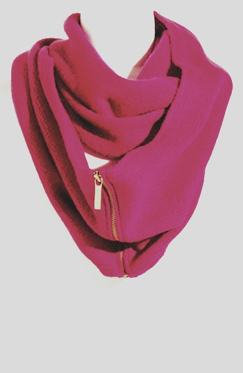 Take a zipper a little longer then your infinity scarf and sew it onto the scarf, unzip after  & cut the material under it so you can use the zipper easily. Try this on sweat & t shirts, angled for a cool design!