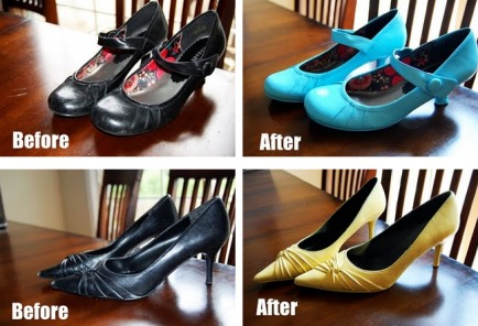 Just spray paint them! Simple as that! Need shoes to match your dress? Pick up the cheapest most comfortable pair of any color and pick up a can of matching spray paint!
