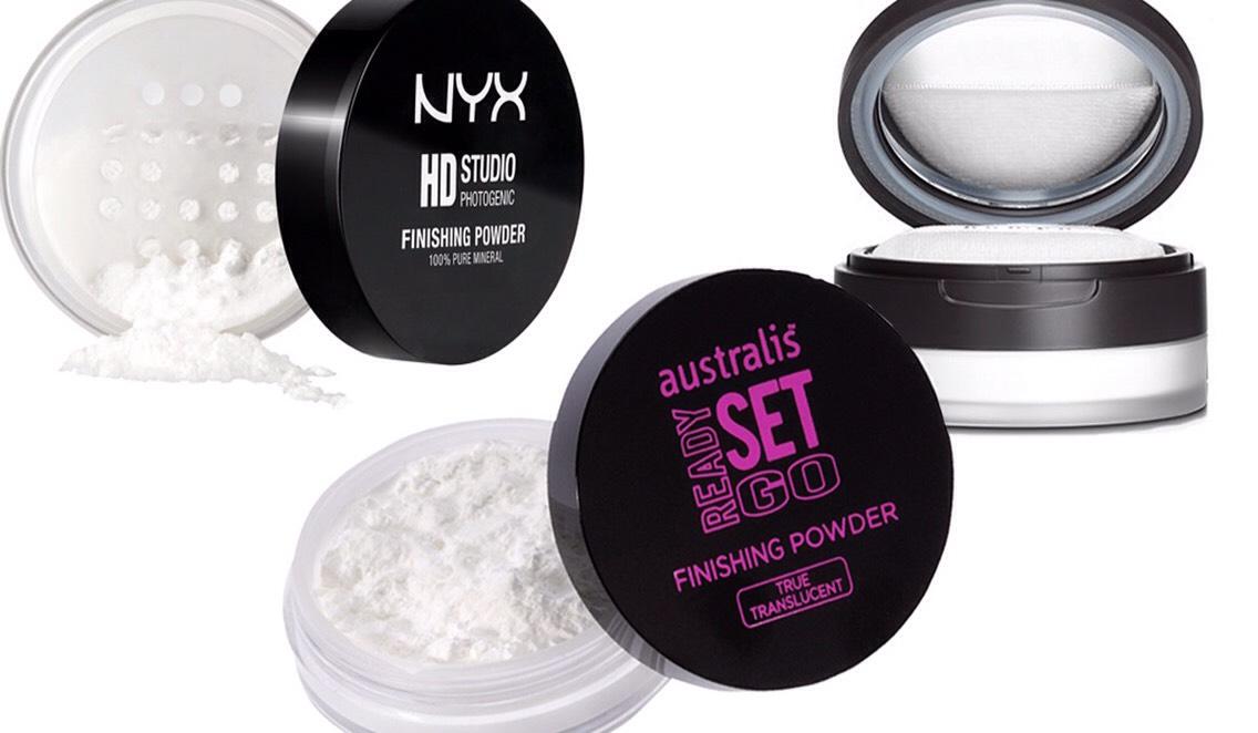 PICTURED|  1.NYX Studio Finishing Powder 2.Australis Ready Set Go Finishing Powder 3.Jurlique Rose Silk Finishing Powder
