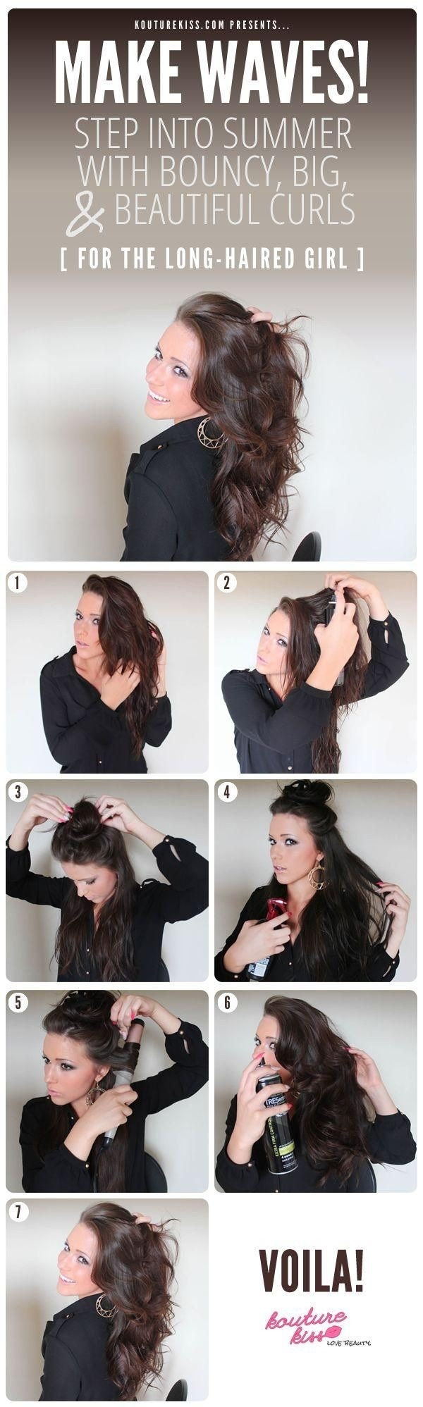 "Step 1. Apply mousse while hair is damp. Step 2. Use root plumper to get more volume. Step 3. After hair is dry, begin to section your hair, brushing out the knots! Step 4. Curl 1/2""-1"" strands at a time, curl entire head! Tease and position how you like and then re-spray to keep in place! 👍"