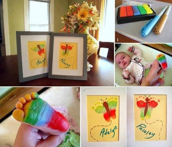 For all you New Moms and Dads out there with Little ones.. here's a piece of artwork that you can't pass up! Turn your babies footprint into a butterfly- this would make a great Valentines or Mothers Day gift.