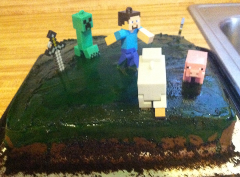 Minecraft scene - characters are from grab bags found at Target.