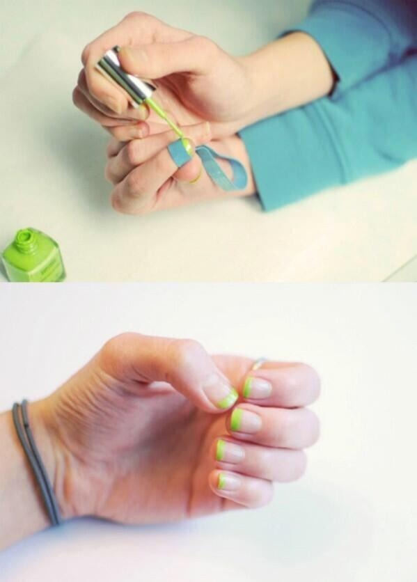 Use an elastic band to cover the rest of the nail whilst you easily paint the tips!