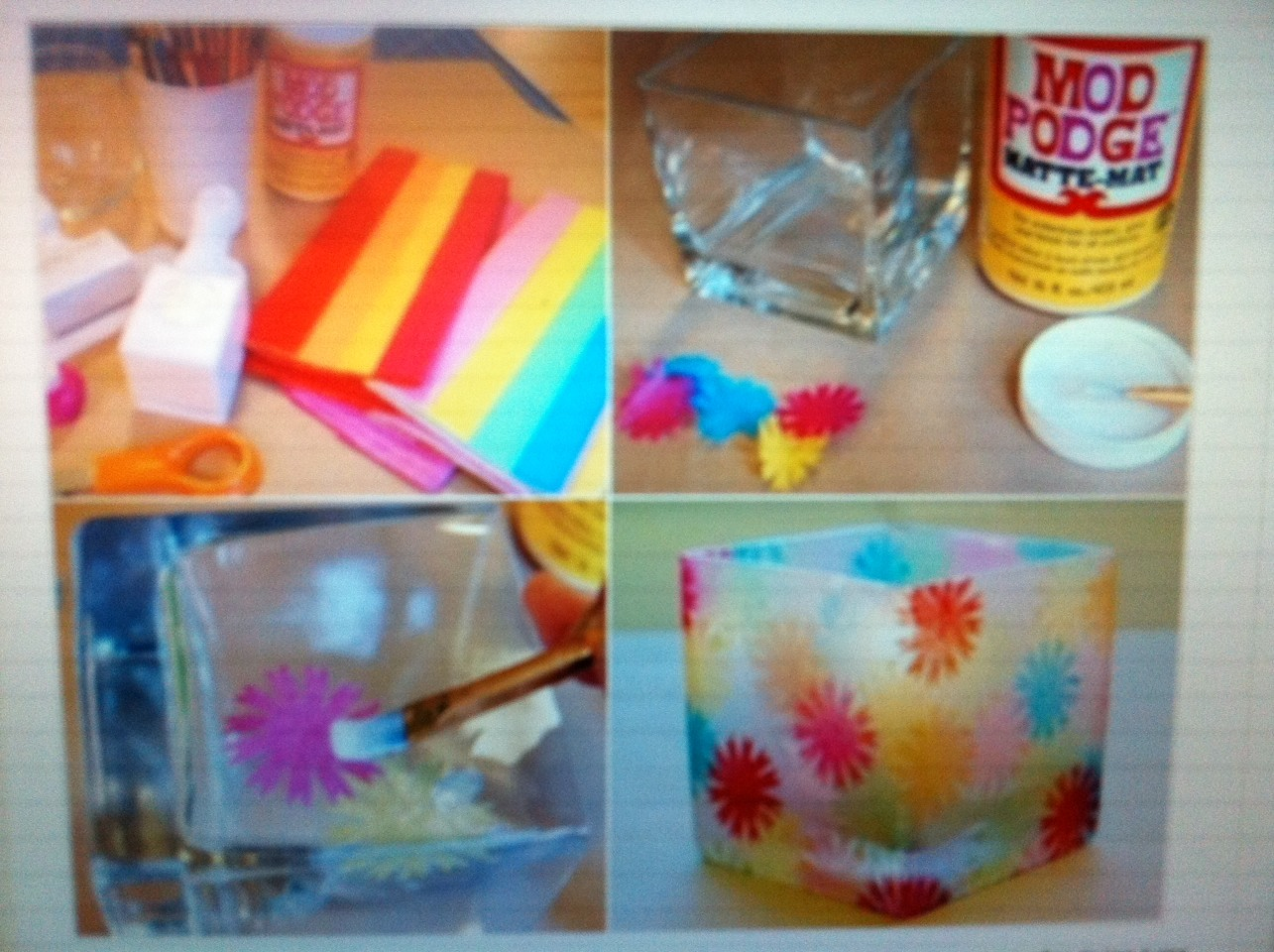 You will need : glue which after drying turns transparents, a glass, candle, tissue, scissors and a brush