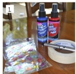 Get your supplies:  red and blue fabric spray paint Star stickers  Masking tape Newspaper