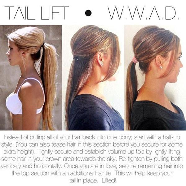 17. Get a little height on top, no hairspray required, by doing a half-up hairstyle first.