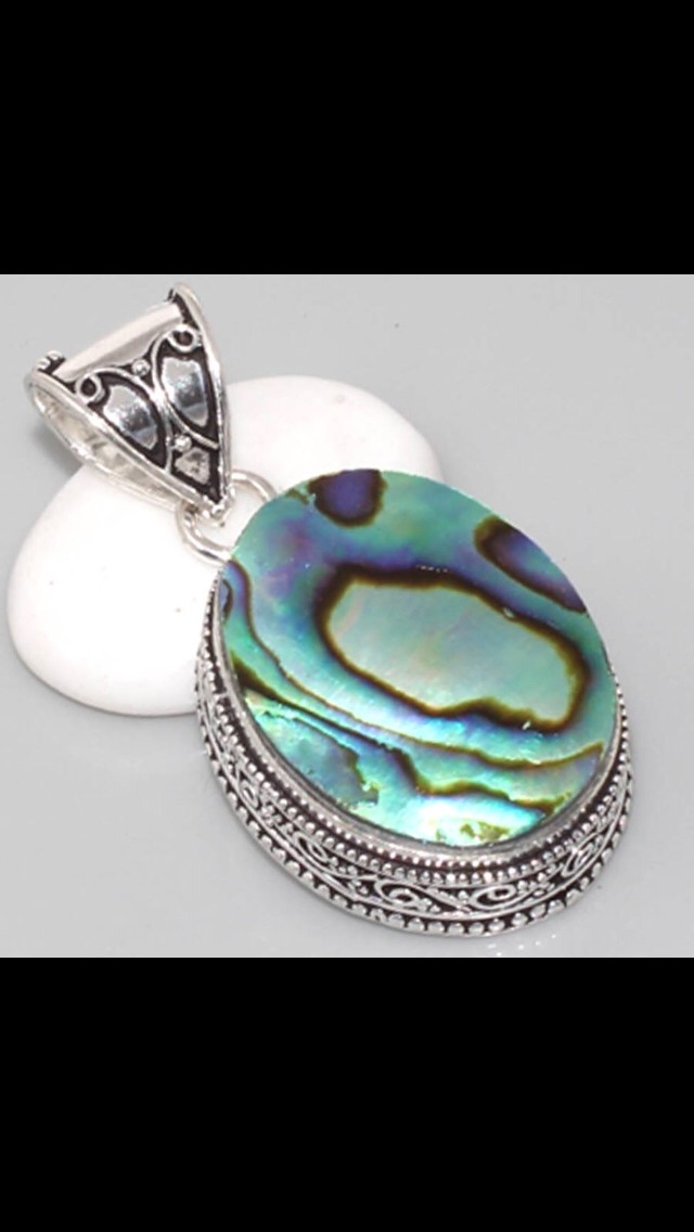 Handmade abalone shell, 925 sterling silver necklace. £7.99 plus ppstage