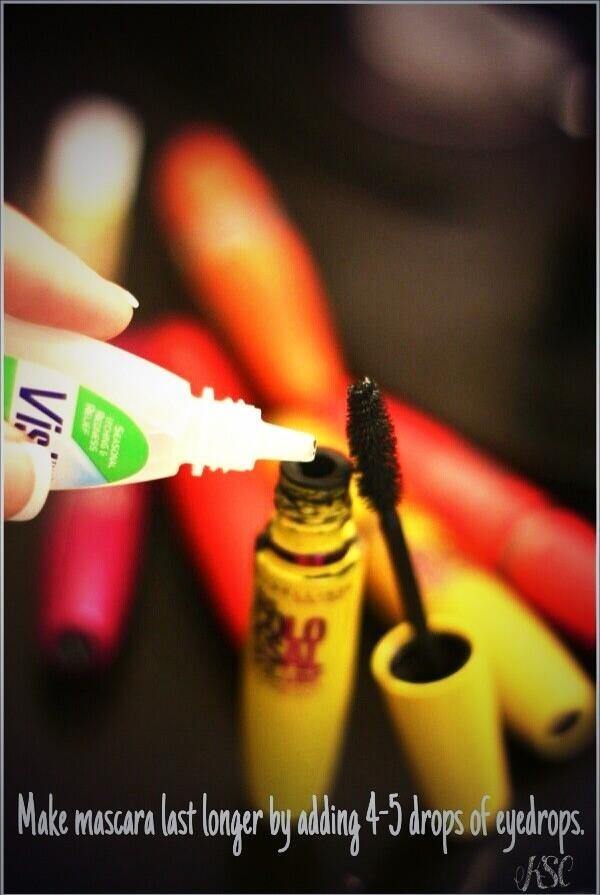 Adding 3-4 drops of eyedrops into your mascara gets any excess around the sides which makes your mascara last a lot longer!!