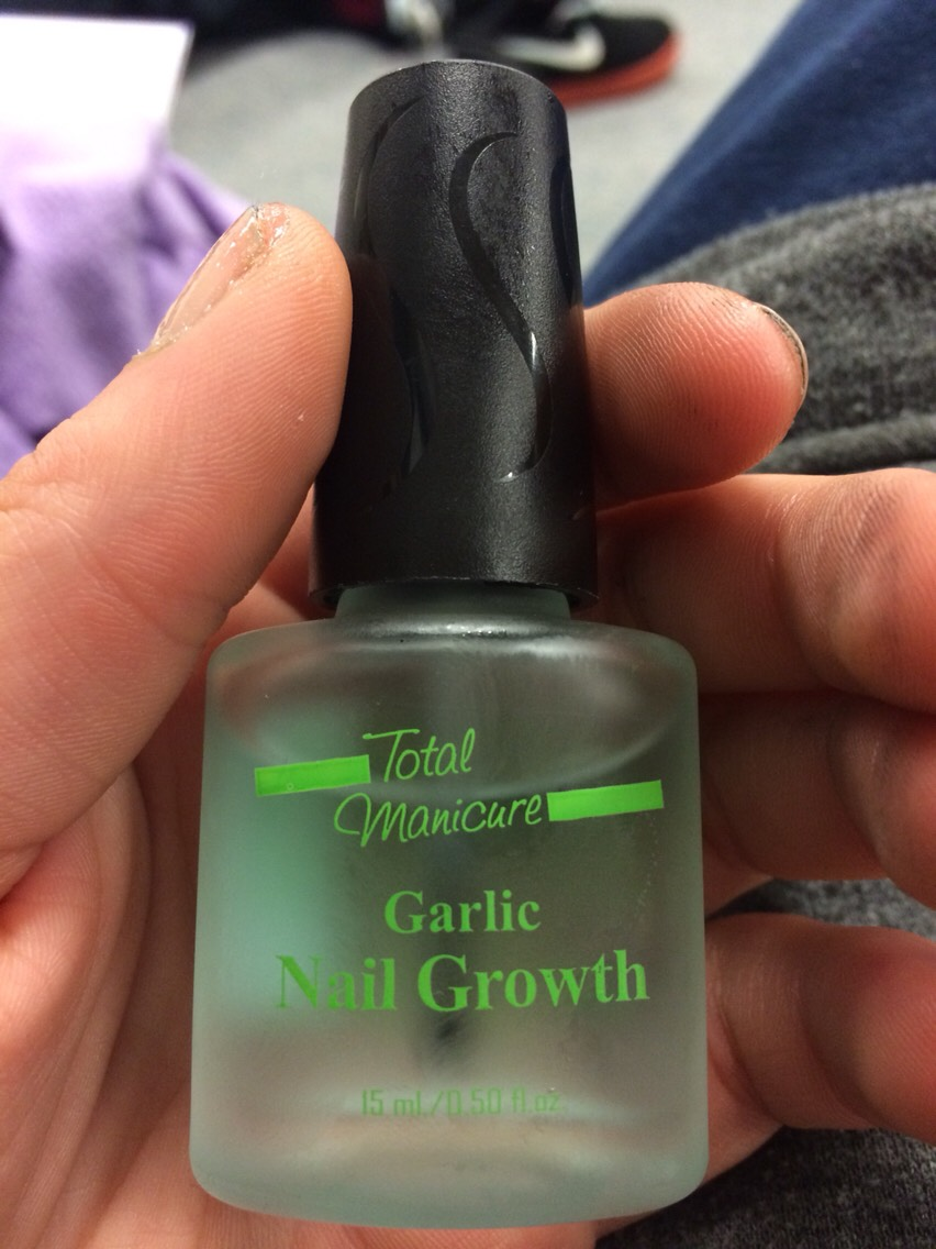 Garlic nail growth can grow out your nails healthy and strong. Most of all long and thick, so no more hangnails. Can be found a few Walgreens/drug stores and beauty/ nails salons