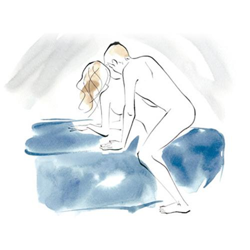 Corkscrew How Near the edge of a bed or bench, rest on the hip and forearm of one side and press your thighs together. Your man stands and straddles you, entering from behind.  Benefit Keeping your legs pressed together allows for a tighter hold on him as he thrusts.