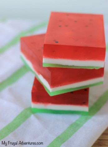 And now you are done!  Cute little watermelon soaps!