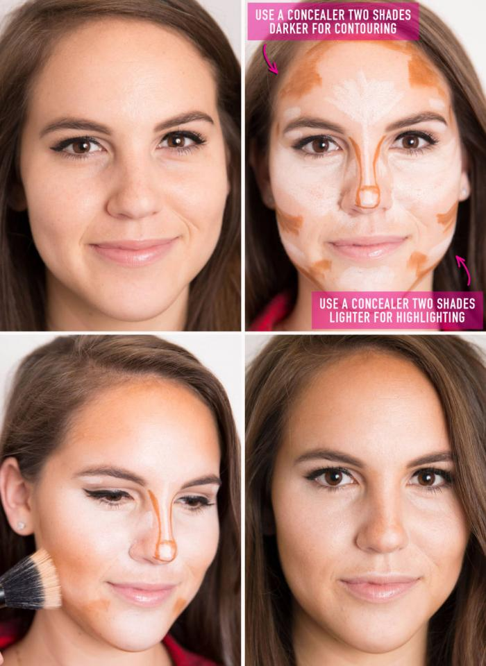 17. Amp up your going-out makeup by contouring and highlighting your facial features with two concealers: one two shades darker than your skin tone and one two shades lighter.