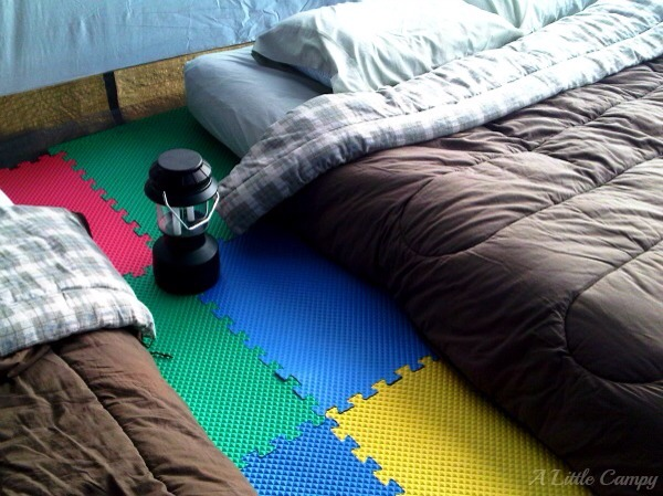 Use foam tiles to make the floor of the tent softer.
