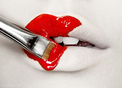 Then you fill in with your lipstick, don't color outside the lines