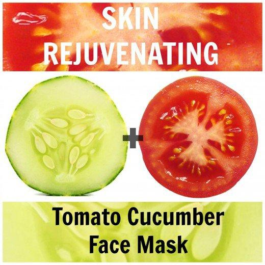 Ingredients1/2 ripe tomato1/4 cucumberDirectionsWash and peel 1/4 a cucumber. Blend it to a fine pulp with 1/2 tomato.Apply the mixture to your skin in a gentle circular motion. Let it sit for 15 minutes.Rinse with cold water. Pat dry