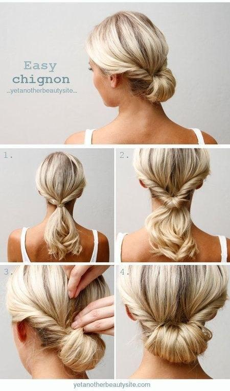 2. Do a topsy tail (inverted ponytail) and tuck the ends in to make an easy chignon.