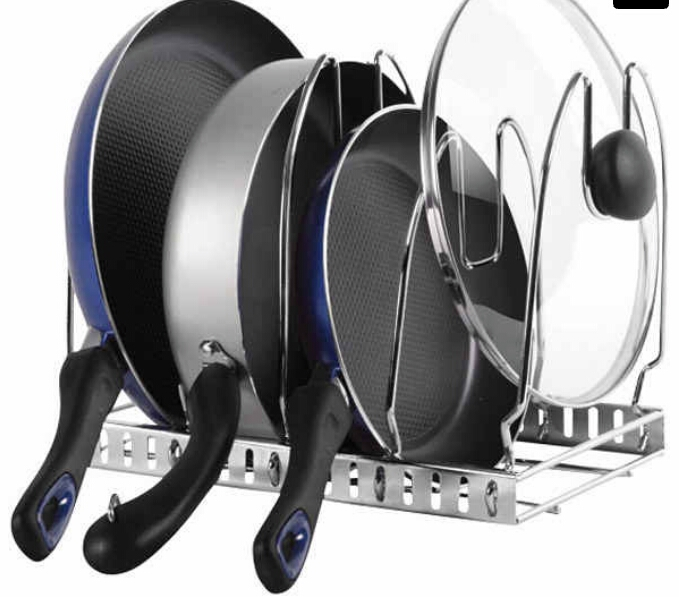 Easy-access organizer for all your cookware. ($19.99)  http://www.containerstore.com/s/chrome-cookware-organizer/d?productId=10034464&q=Chrome%20cookware%20organizer