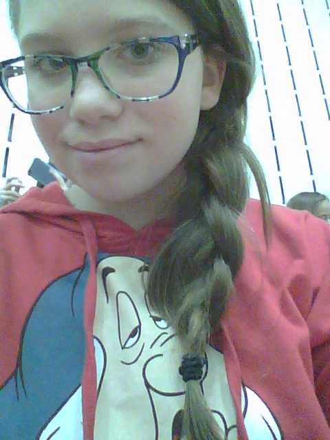 😍My braid that I did for school. I made it by brushing my hair and after its knot free then I part all my hair to one side of my head. Next I take my hair (where my ear ends) with your fingers make your hair into three parts. Lastly make a braid that is kind of tight then just pit a hair tie on.😍