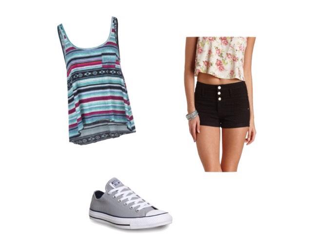 Shirt- backcountry.com  Shorts - Charlotterusse.com  Shoes - selfridges.com